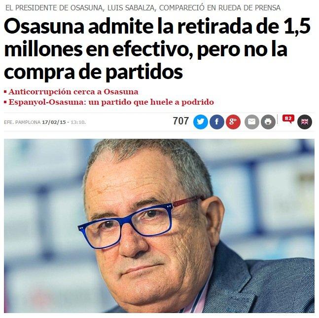 Prezes Osasuny Luis Sabalza