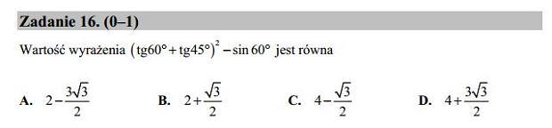 Matura poprawkowa 2016 matematyka, Zad. 16