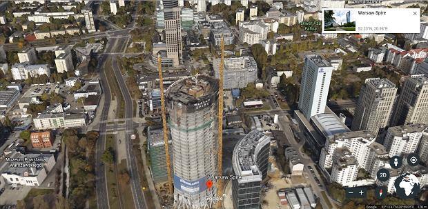 Warsaw Spire w Google Earth