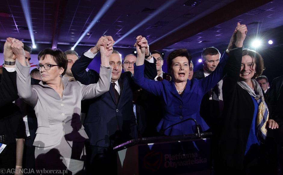 Ogłoszenie wyników wyborów na nowego szefa PO: Ewa Kopacz, Grzegorz Schetyna, Hanna Gronkiewicz-Waltz, Małgorzata Kidawa-Błońska