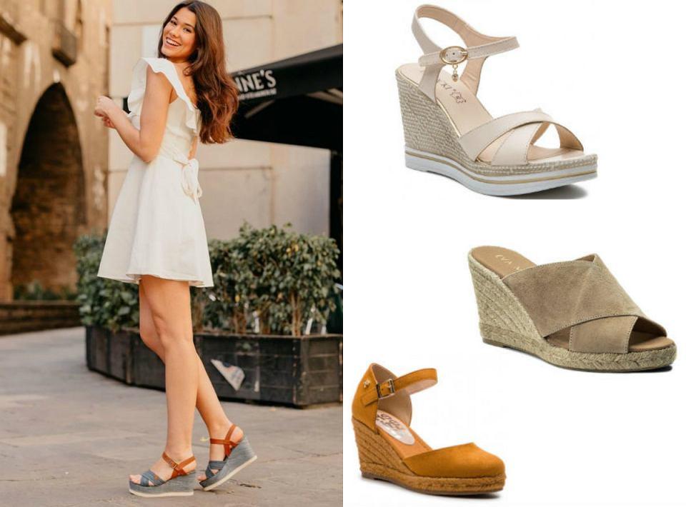Buty letnie na koturnie - sandały w modnych kolorach na lato