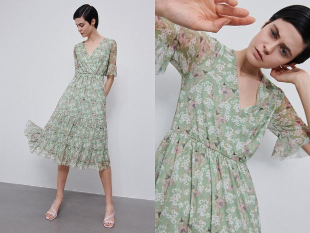 Reserved sukienka z falbanami