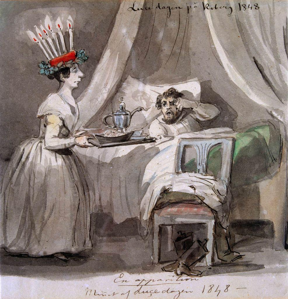 Śniadanie w dzień św. Łucji, rycina z 1848, autor: Fritz von Darde / Domena publiczna