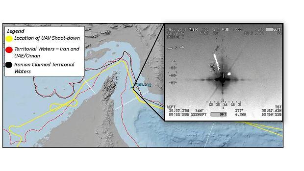 Grafika udostępniona przez siły zbrojne USA, pokazująca trasę i miejsce zestrzelenia drona