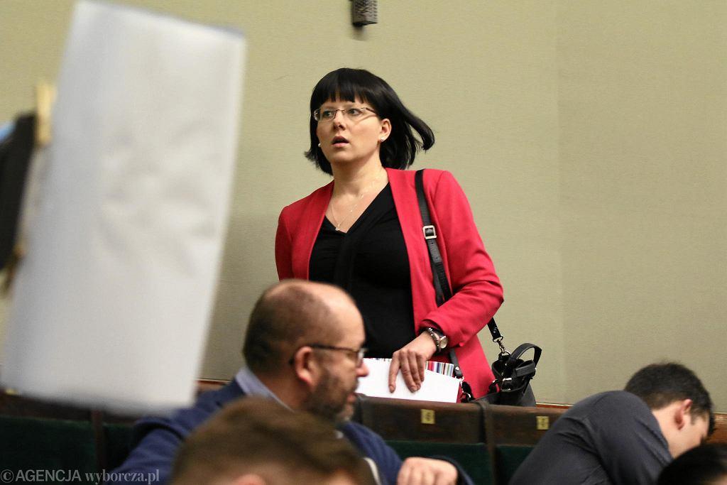 10.01.2018, Kaja Godek przed swoim wystąpieniem w Sejmie.
