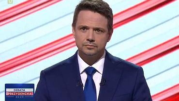 Rafał Trzaskowski podczas debaty prezydenckiej w studiu TVP