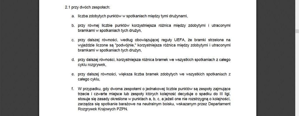 Regulamin rozgrywek II ligi/