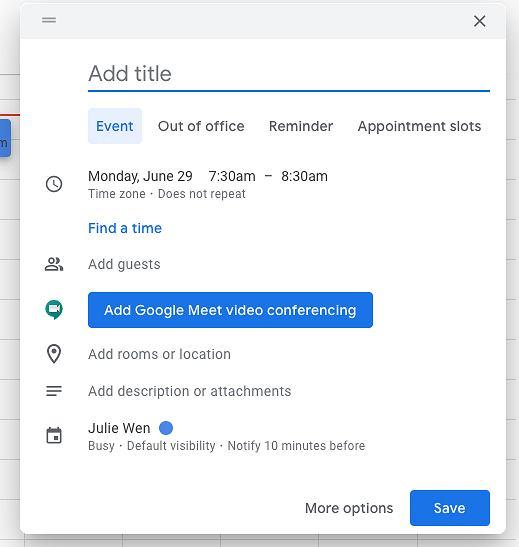 Nowe podręczne okno w Kalendarzu Google