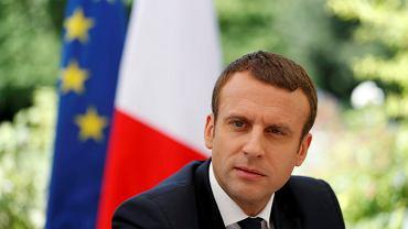 Prezydent Francji Emmanuel Macron podczas wywiadu z przedstawicielami ośmiu europejskich gazet.