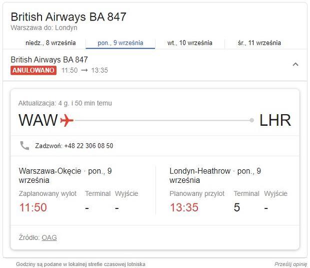 British Airways odwołuje loty 9 i 10 września