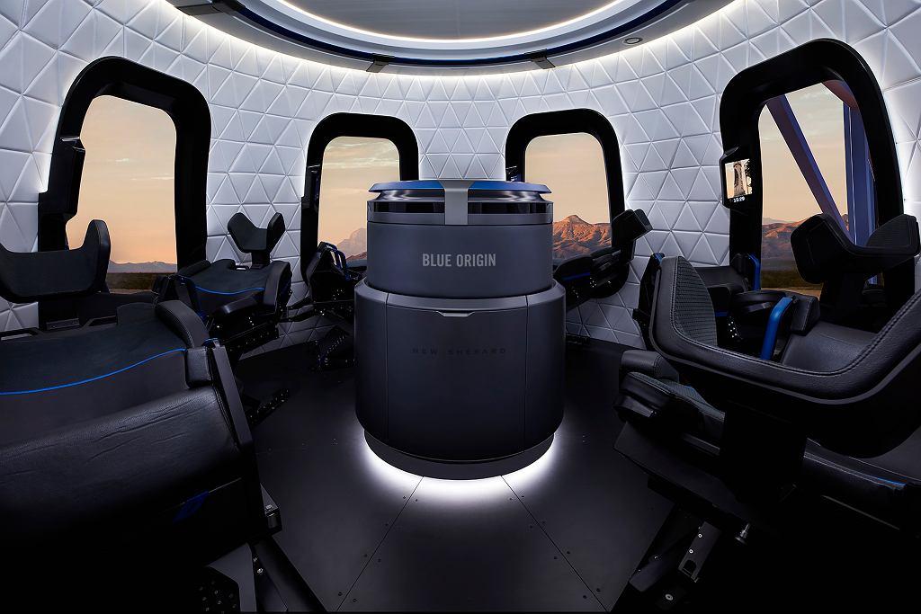 Wnętrze statku NewShepard firmy Blue Origin