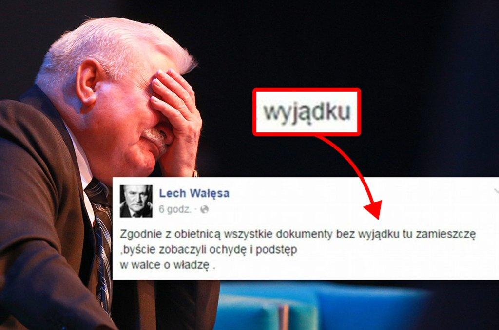 Lech Wałęsa w kolejnym wpisie na Facebooku ujawnił, że mistrzem ortografii raczej nie jest. A jak wygląda umiejętność bezbłędnego pisania u innych znanych i poważanych Polaków? Wcale nie lepiej.