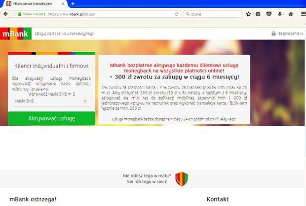 Komunikat o aktywacji usługi payback w mBanku