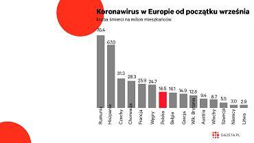 COVID-19 zabija Polaków. Na tle Europy wypadamy gorzej niż mogą sugerować grafiki rządu [WYKRES DNIA]
