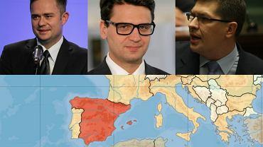 Hofman, Kamiński i Rogacki / mapa Hiszpanii