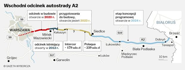 Autostrada A2. Przebieg i harmonogram budowy na wschód od Warszawy