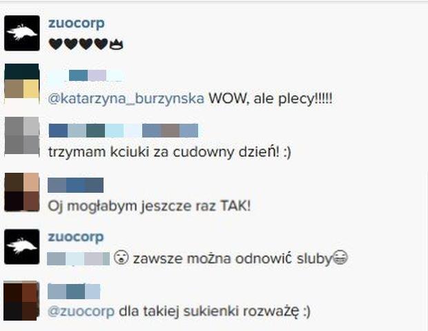 Komentarze na profilu Katarzyny Burzyńskiej i Zuo Corp