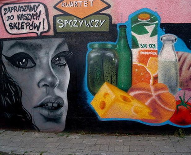 Graffiti promujące sieć sklepów spożywczych