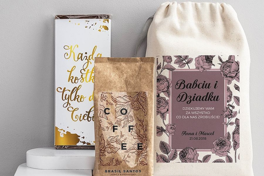 Kawa i czekolada w woreczku. Zestaw dla babci i dziadka