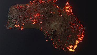 Wizualizacja 3D obszarów zajętych przez ogień w Australii od 5.12 do 5.01