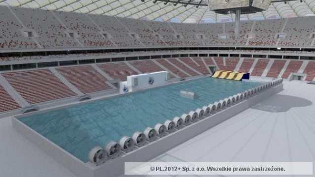 Tak ma wyglądać basen na Stadionie Narodowym przygotowany do rozgrywania zawodów Pucharu Świata w windsurfingu