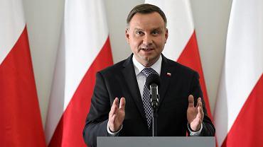 Prezydent Andrzej Duda podczas oświadczenia nt. proponowanych ustaw