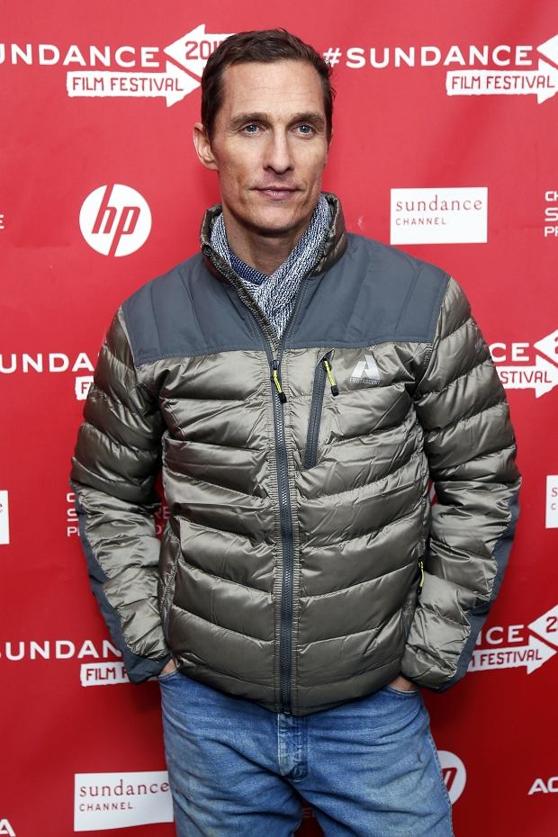 """Cast member Matthew McConaughey poses at the premiere of """"Mud"""" during the 2013 Sundance Film Festival on Saturday, Jan. 19, 2013 in Park City, Utah. (Photo by Danny Moloshok/Invision/AP)"""