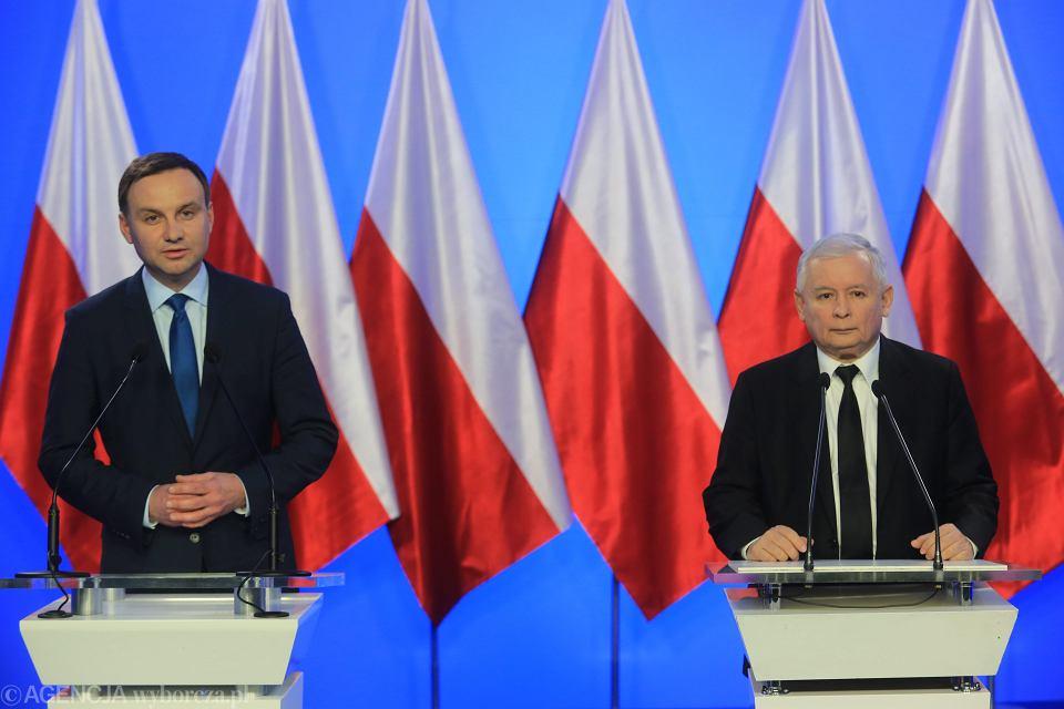 Kandydat PiS na prezydenta Andrzej Duda i Jarosław Kaczyński