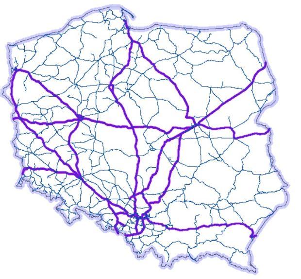 Mapa magistrali kolejowych w Polsce