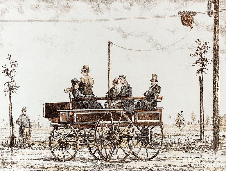 Pocztówka z pierwszym trolejbusem. Siemens Electromote w Berlinie w 1882 r.