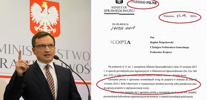 Zbigniew Ziobro, minister sprawiedliwości/fragment dokumentu z resortu sprawiedliwości