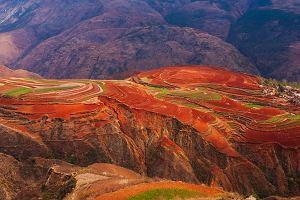 Dongchuan - ogniście czerwony rejon Chin. Niektórym trudno uwierzyć, że to dzieło samej natury