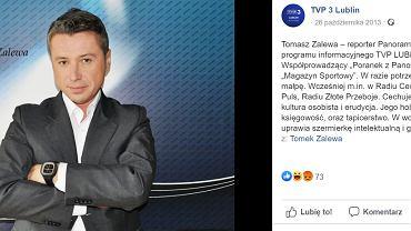 Tomasz Zalewa na profilu TVP3 Lublin na Facebooku