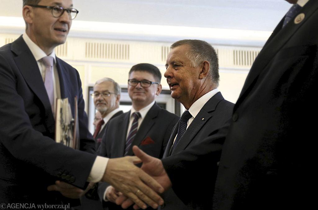 Minister finansów Marian Banaś podczas posiedzenia rządu, Warszawa 27.08.2019