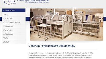Strona internetowa Centrum Personalizacji Dokumentów