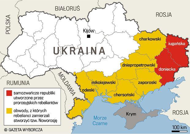 Obszar, na którym planowano utworzyć Noworosję