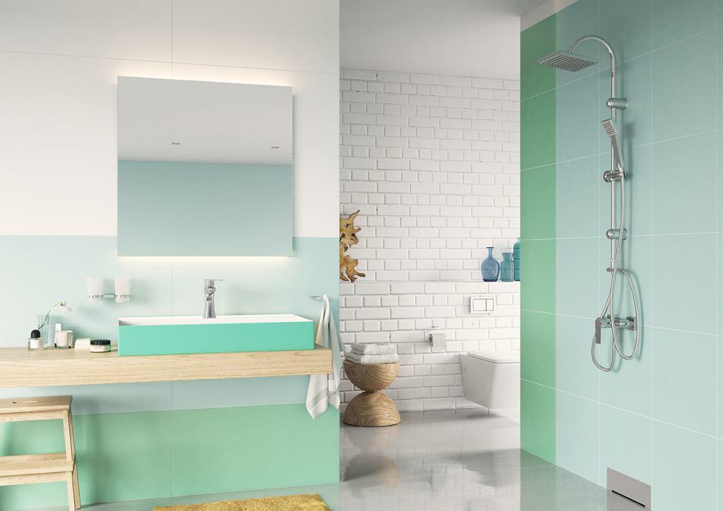 Biało-zielona łazienka