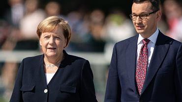 Kanclerz Angela Merkel i premier Mateusz Morawiecki podczas obchodów 80. rocznicy wybuchu II wojny światowej, 1 IX 2019 r.