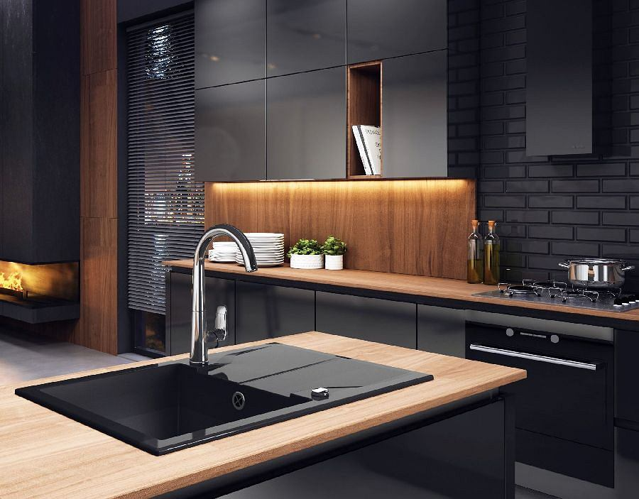 Kuchnia nowoczesna - ciemne kolory