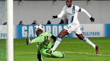 Yaya Toure w meczu Manchesteru City z CSKA Moskwa