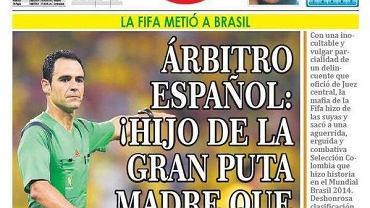 Okładka kolumbijskiej gazety