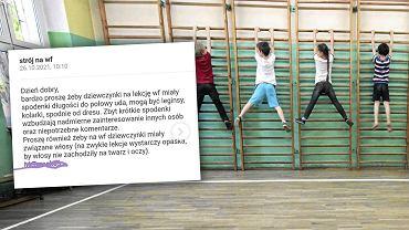 Zgodnie z informacją przesłaną ze szkoły, dziewczynki na lekcjach WF-u nie powinny mieć zbyt krótkich spodenek.