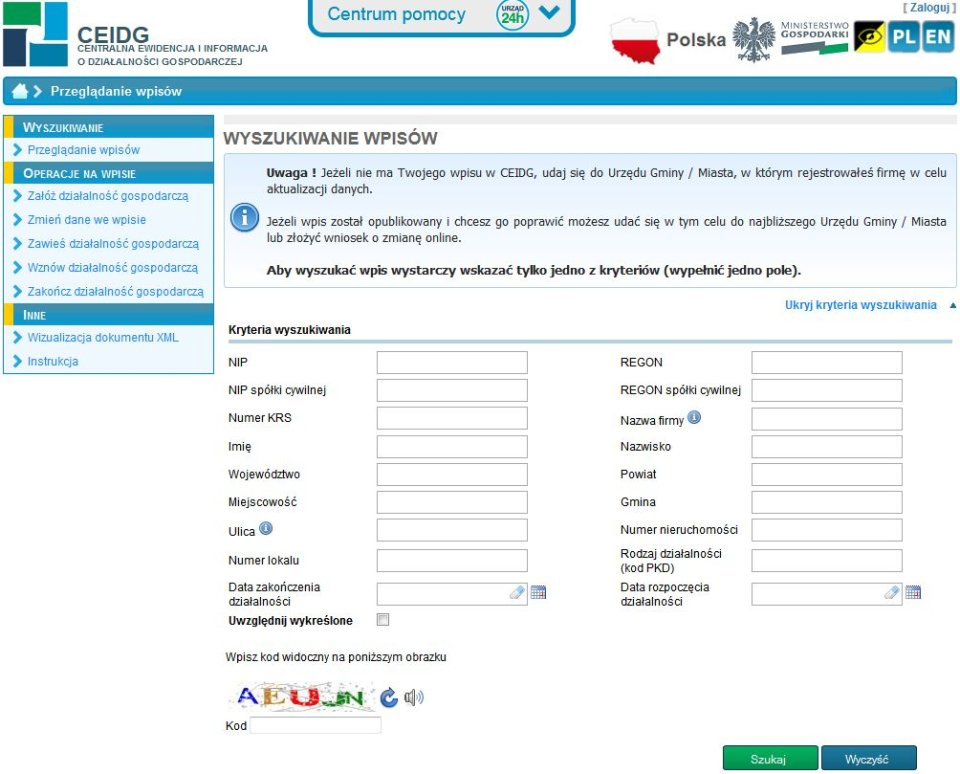 Strona CEiDG