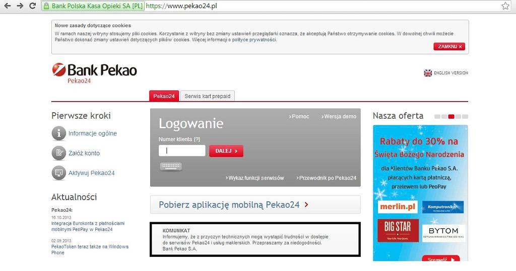 W pekao24.pl znów problemy z logowaniem do kont internetowych