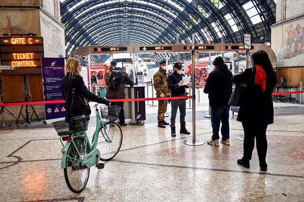 Główny dworzec kolejowy w Mediolanie, 9 marca 2020 r.