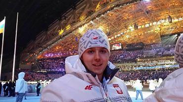 Daniel Zalewski podczas ceremonii otwarcia igrzysk olimpijskich w Soczi