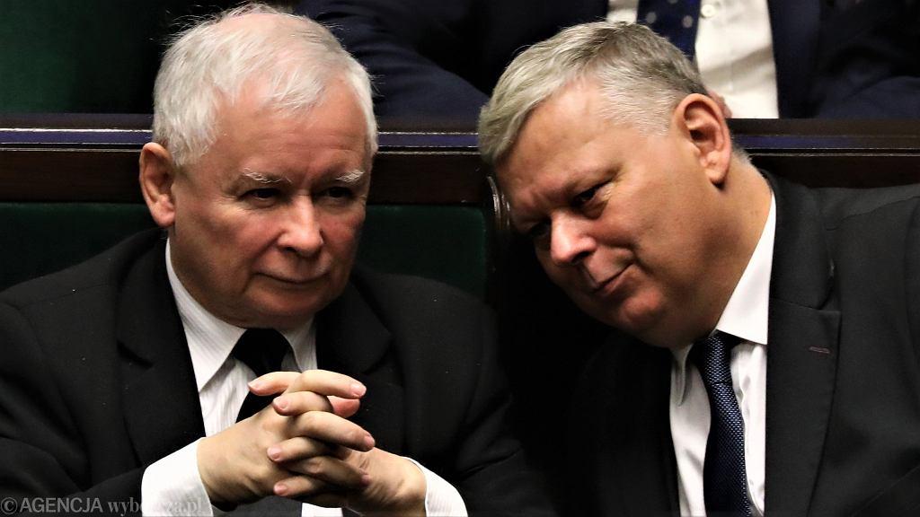 Prezes PiS Jarosław Kaczyński i Marek Suski