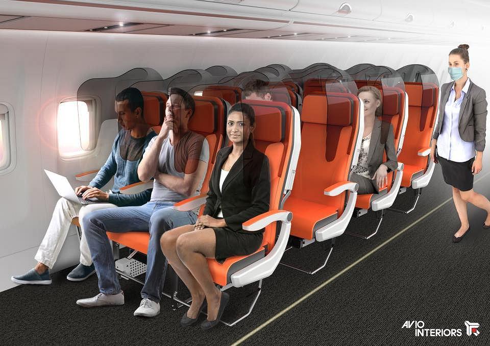 Ścianki między fotelami w samolotach