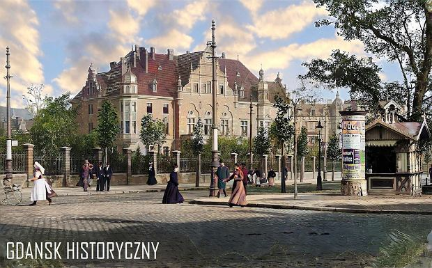 Zdjęcie numer 7 w galerii - Zdjęcia przedwojennego i powojennego Gdańska w kolorze. Zieleń drzew i czerwone cegły Bazyliki Mariackiej