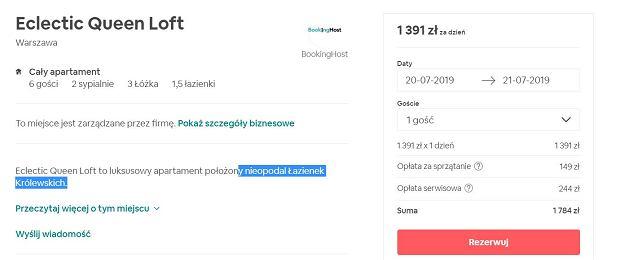 Cena za wynajęcie mieszkania Dody